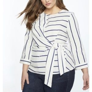 Eloquii Striped white blue linen wrap top 14